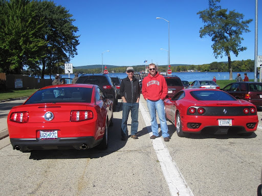 My uncle and I with our fast red cars - 2011 Mustang GT and 2001 Ferrari 360 Modena