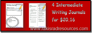 4 Intermediate Writing Journals for $20.16