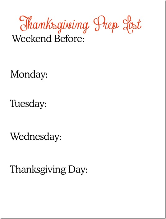 Thanksgiving prep list 2