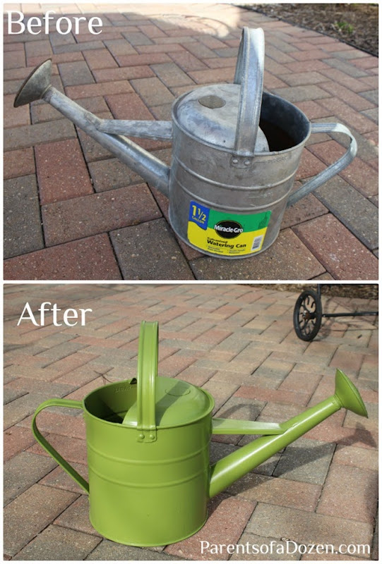 Spray paint a watering can to refresh and add color