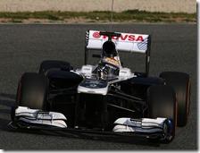 Maldonado con la Williams nei test di Barcellona 2013
