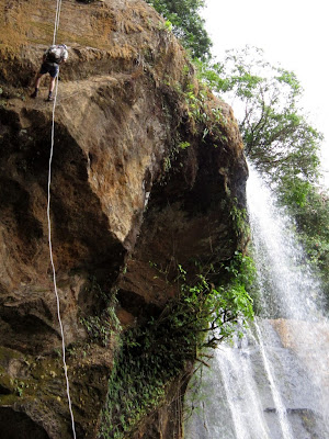 abseiling next to one of the Diamante waterfalls