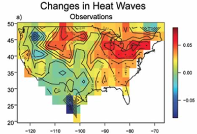 Trend from 1961-1990 in the Karl-Knight heat wave index, which tracks the warmest average minimum temperature over three consecutive nights in a year. Gutowski et al. 2008 via climatecommunication.org