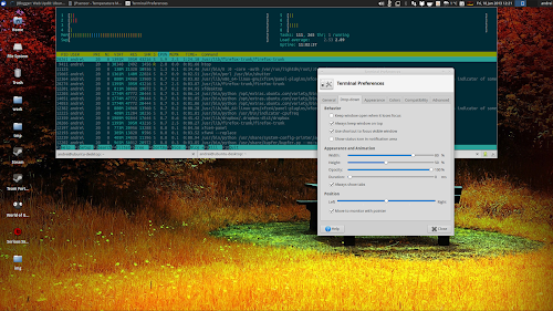XFCE4 Terminal 0.6.1 con la finestra a discesa