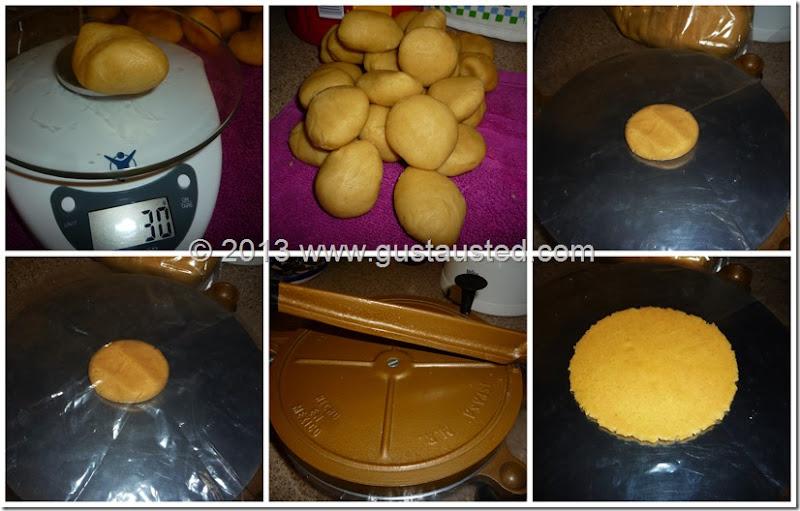 5.- Pesa todas las bolitas y haz las gorditas en la tortilladora
