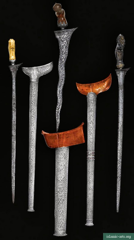 THREE MALAY DAGGERS (KRIS) WITH SILVER SCABBARDS, MALAYSIA