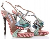 Tabitha Simmons Striped Silk Sandal ShoesNBooze
