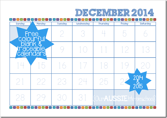 Our Aussie Homeschool - Free printable calendars for 2014-15!