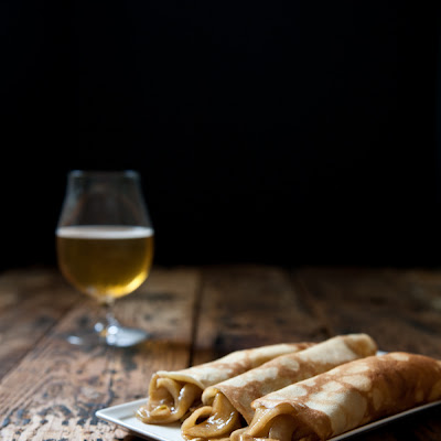 Beer Crepes with Beer Caramelized Apples