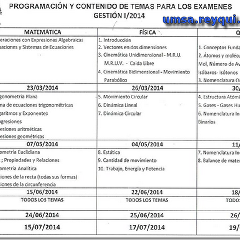 Programación y Contenido para los exámenes de los prefacultativos de la Facultad de Ingeniería (UMSA 2014)