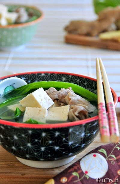 Chinese Mustard Green Soup with Tofu and Pork (芥菜豆腐肉片湯)