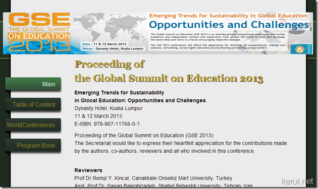 Proceeding of the Global Summit on Education 2013