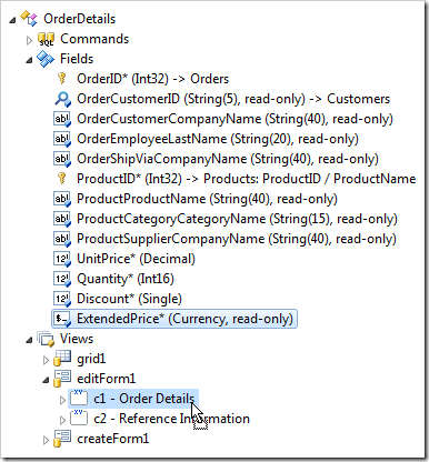 Dropping ExtendedPrice field node onto 'c1' category node.