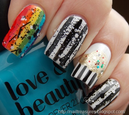 The White Used Is NYC French Tip THe Black Art Club Rainbow Polishes Are As Follows From Red To Purple A Lacura