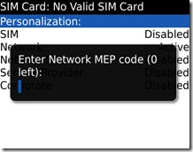 Enter Network MEP code (0 left)