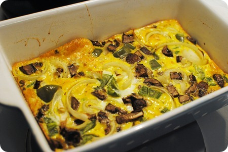 onion, pepper, mushroom frittata