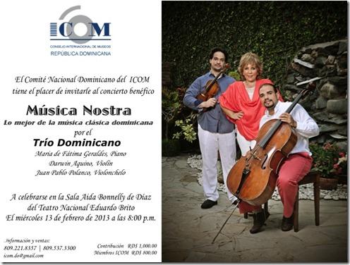 Invitacion de ICOM-DO a concierto febrero 13, 2013
