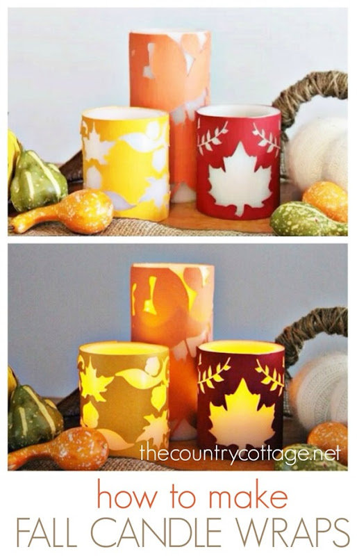 how to make beautiful fall candle wraps by the country chic cottage