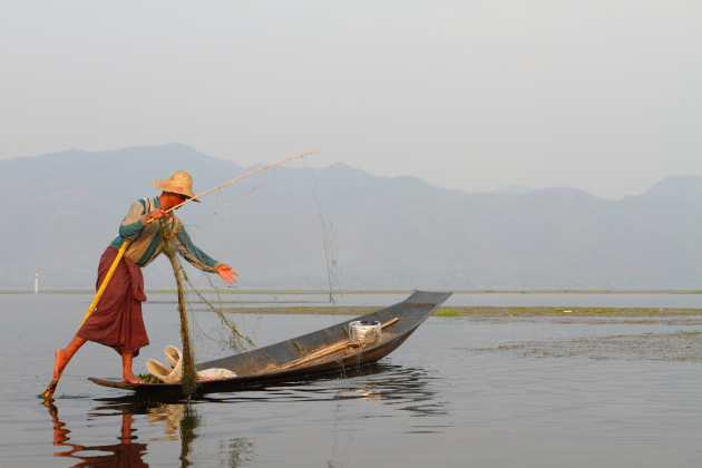 A Fisherman on Inle Lake, Burma