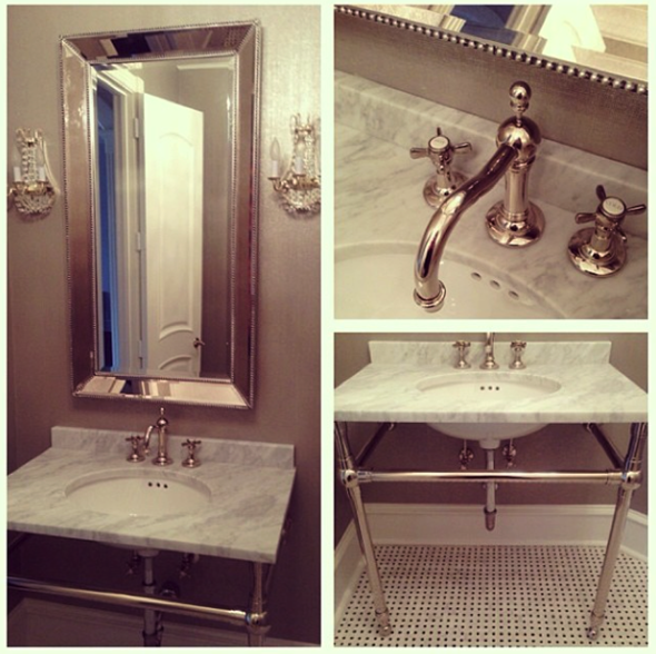 Paloma Contreras Design | Powder Room | Phillip Jeffries Metallic Grasscloth | Marble Sink | Basketweave Tile