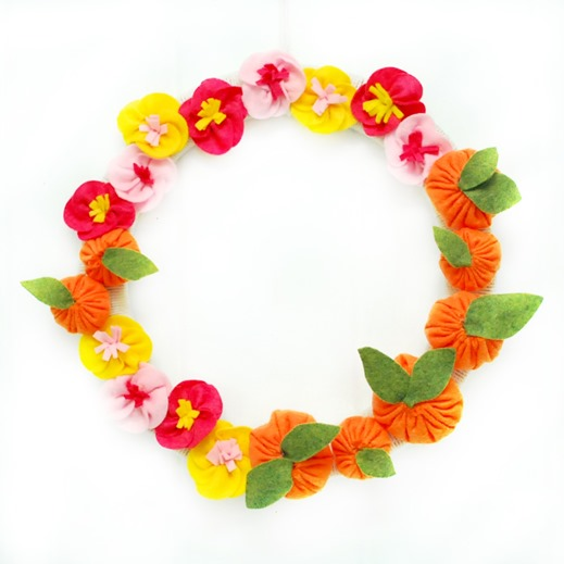 Tangerine and Cherry Blossom Lunar New Year Wreath - The Silly Pearl