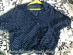hyphen luxe navy blue polka dot bat's wing blouse, by bitsandtreats