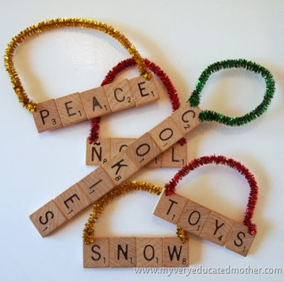 Scrabble Tile Ornaments #NUO2013 #Christmasornaments