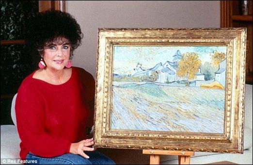 Elizabeth Taylor with Van Gogh's Painting