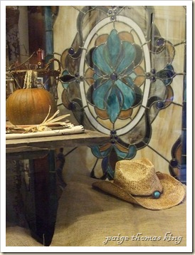 stained glass window, cowboy hat