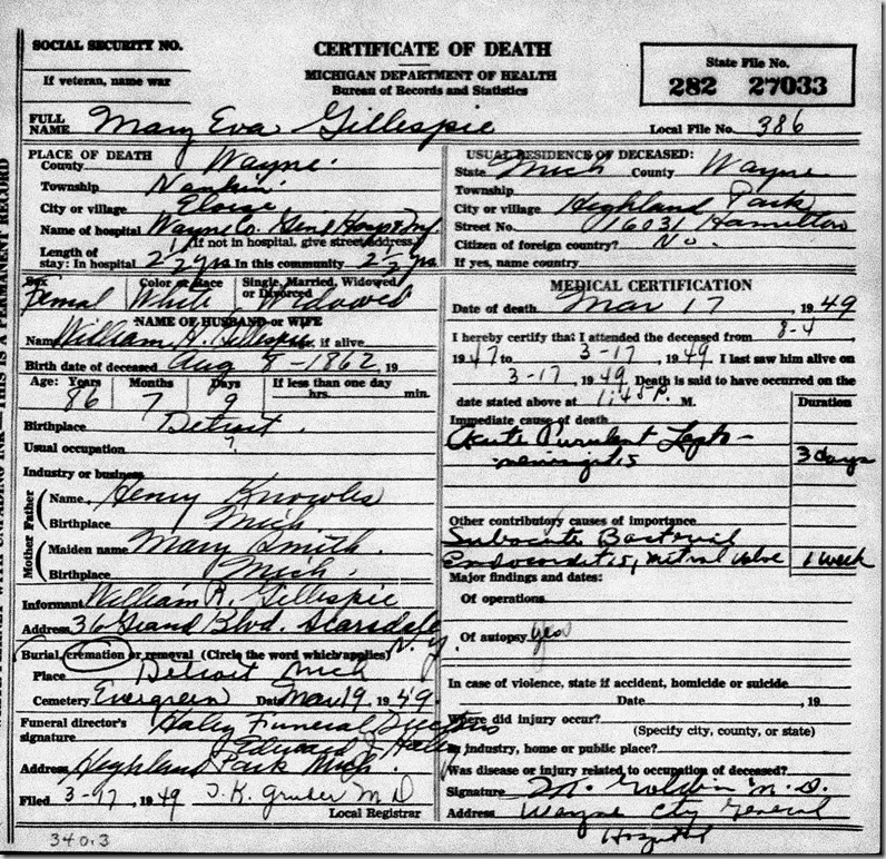 GILLESPIE_Mary Eva nee KNOWLES_death cert_17 Mar 1949_Eloise Wayne Michigan