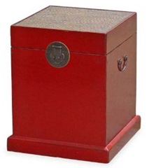 red chinese wedding box trunk with rattan top