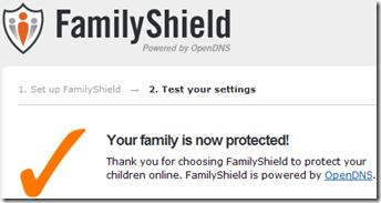 Conferma corretta configurazione DNS FamilyShield sulla connessione internet in uso