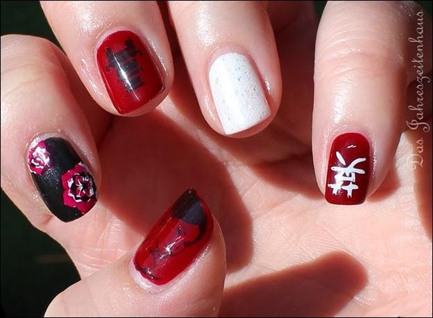 Nail Art Geisha Kirschblüte Japan Asien Design 6