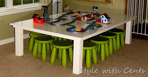 style with cents pottery barn kid s knock off table train table 40. Black Bedroom Furniture Sets. Home Design Ideas