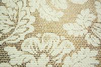 Tkanina meblowa z metalicznym efektem w kwiaty. Kremowa, złota.