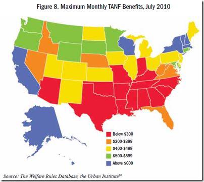 U.S. Maximum Monthly TANF Benefits, July 2010