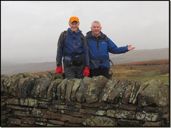 Martin and Norman reach the summit of Great Hill (380 metres)