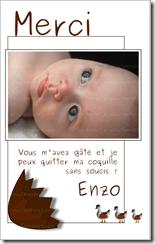 """Carton de remerciements """"Les bébés naissent dans des oeufs en chocolat"""" fond blanc"""