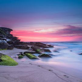 BEFORE SUNRISE by Robin Widjaja - Landscapes Beaches ( #tamaramabeach, #beforesunrise, #sydneybeaches, #waterscape, #sunrisebyrobin, #redclouds )