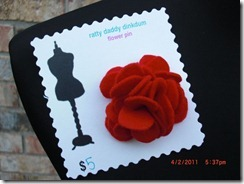 red Christmas flower pin
