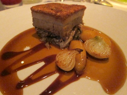 Crispy Suffolk pork belly with sage Lyonnaise, braised apple and Madeira jus