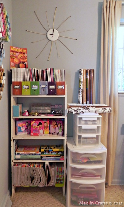 bookshelf and paper storage
