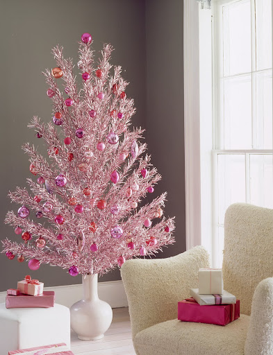 Because most aluminum trees were silver, colored examples like this pink one are rare and expensive.