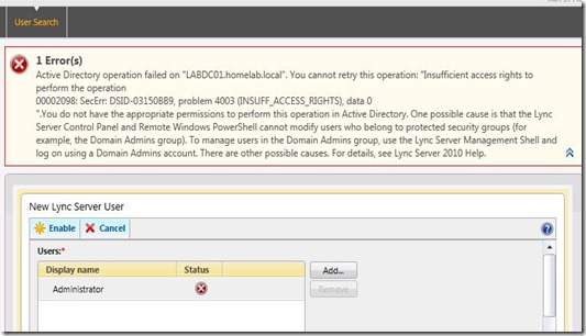 Lync - Enable Admin failure