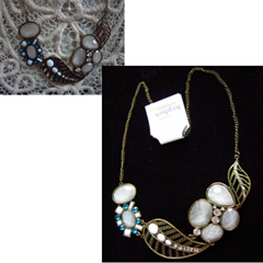 aqua and white bib necklace, hyphen