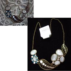 aqua and white bib necklace, hyphen