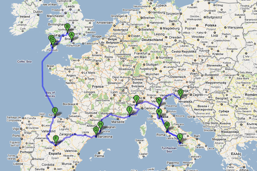 The Road Forks route through Europe