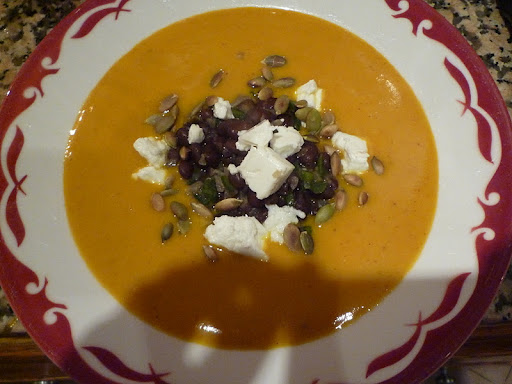 A bowlful of soup; perfect for a chilly day.