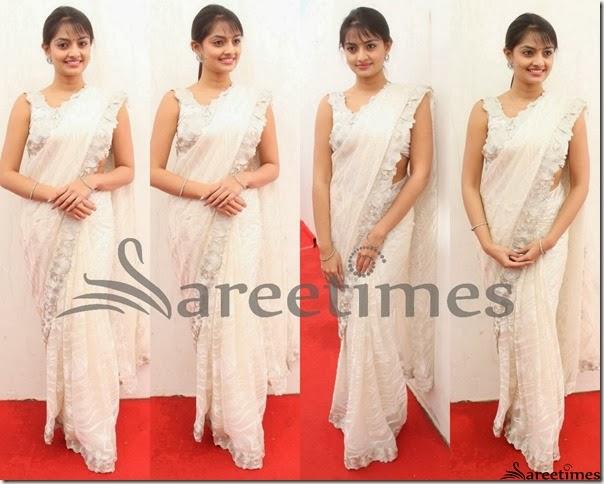 Nikitha_Narayan_White_Embellished_Saree