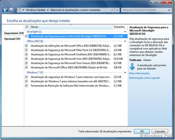Windows Update - atualizações do dia 12/03/2013
